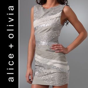 Alice + Olivia lace sequin banded mini dress 4 S